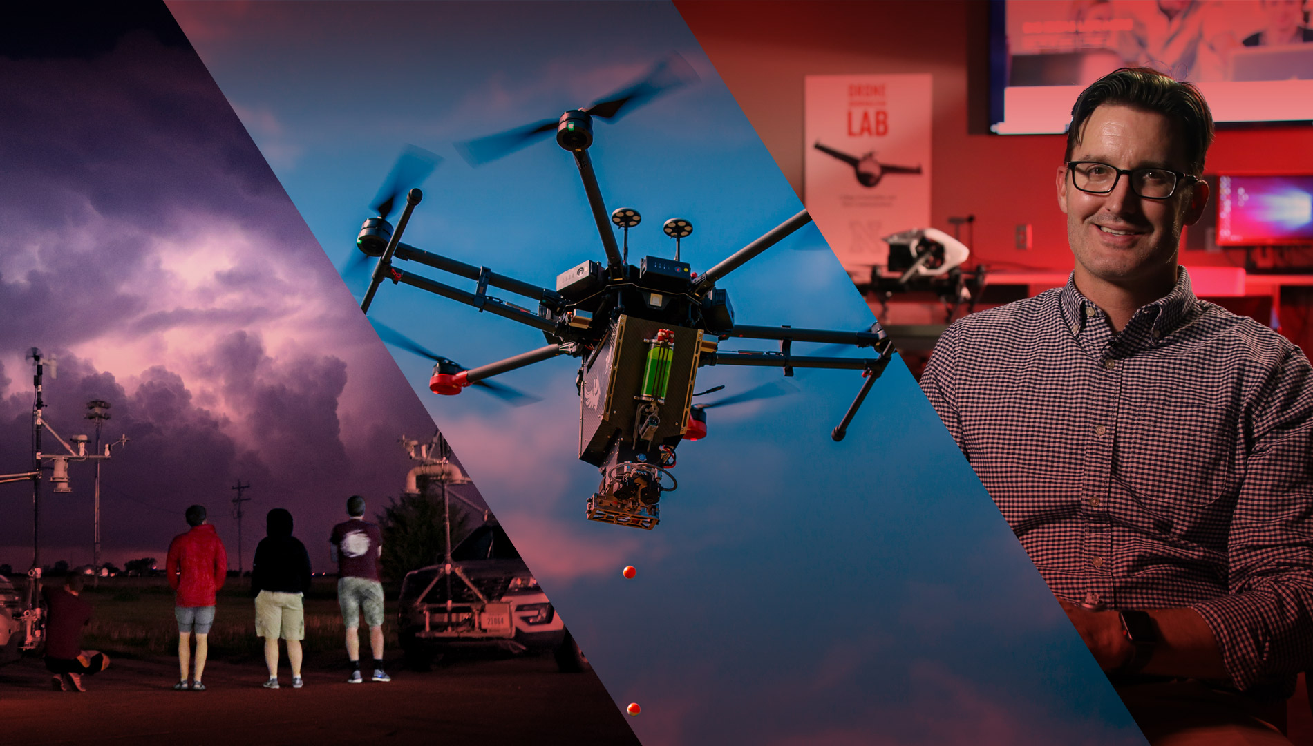 three diagonal images; a lightning filled storm cloud at night; a drone on blue sky; Matt Waite sitting in a classroom